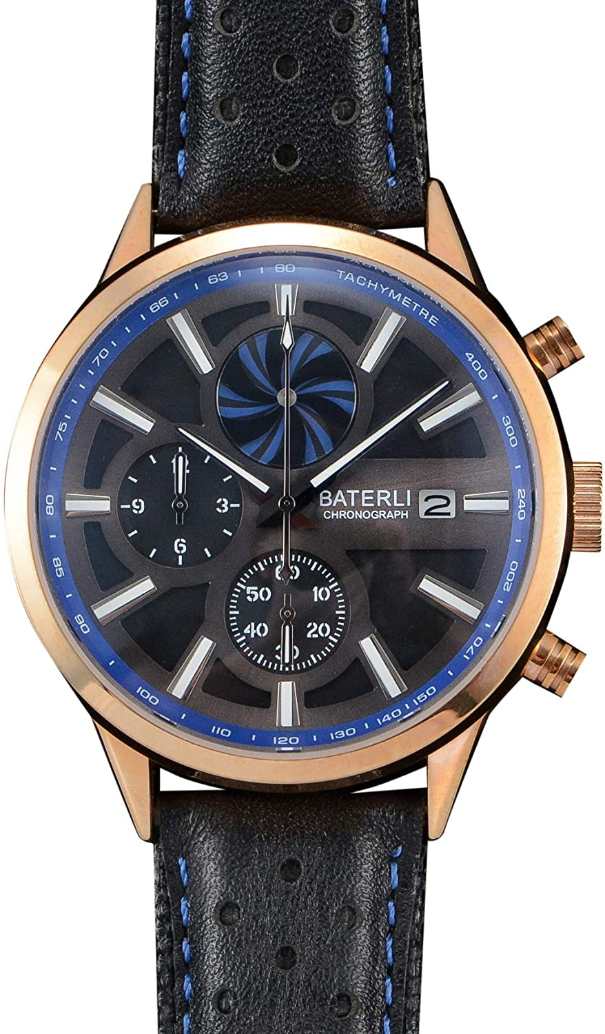 BATERLI Windmill Stainless Steel and Leather Quartz Watch Chronograph Watch Multi-Function Waterproof Watch Chronograph Leather Bracelet