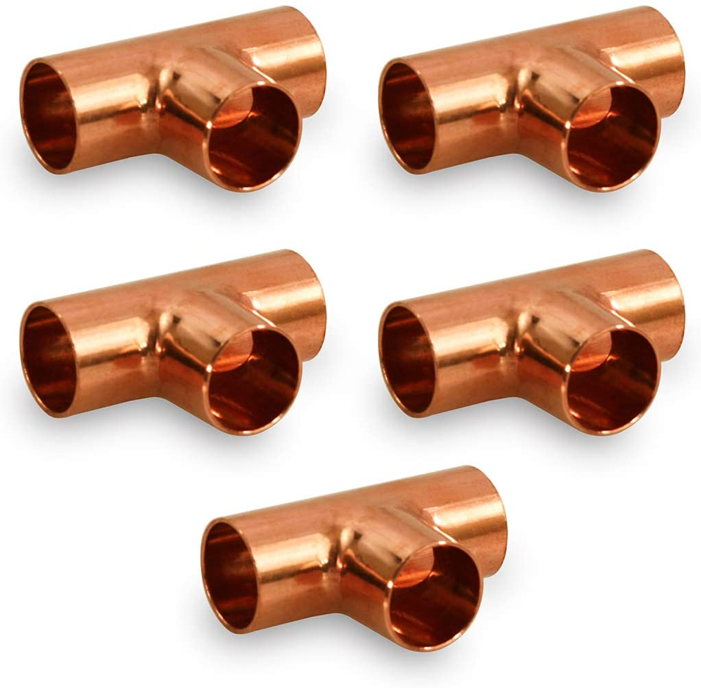 Supply Giant DDUF0018-5 Tee Copper Fittings With Sweat Ends, 1/8