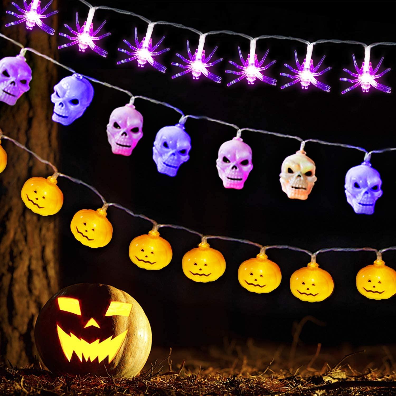 SAMYERLEN Total 45 LED 3 Series Halloween Lights Incloud Orange Pumpkins, Purple Bats, White Ghosts for Halloween Decorations Indoor & Outdoor Festival Decoration