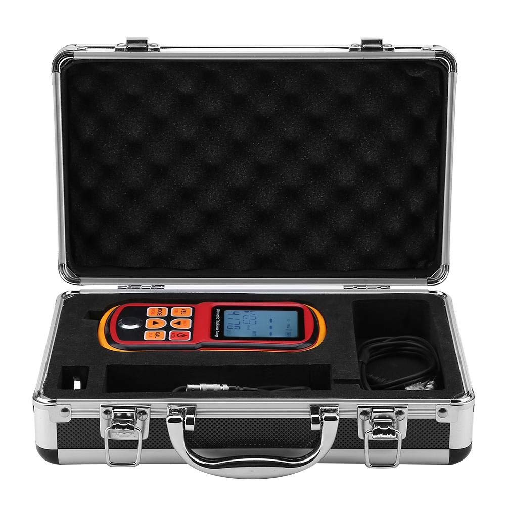Ultrasonic Thickness Gauge,GM130 Backlight Display Digital Thickness Meter 1-300mm Steel Width Testing Monitor,12 Kinds Thickness Measurement Auto Power Off Function