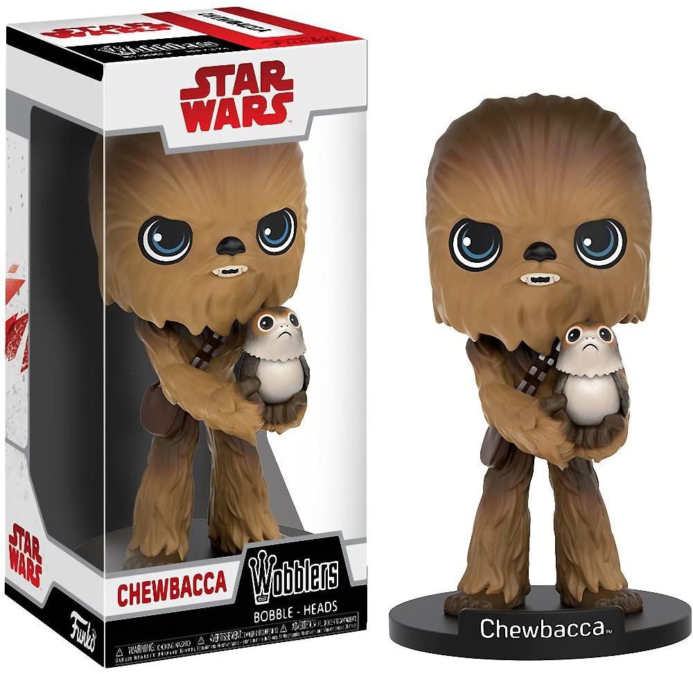 Funko Chewbacca Wobblers x Star Wars: The Last Jedi Bobble Head Figure + 1 Official Star Wars Trading Card Bundle (20226)