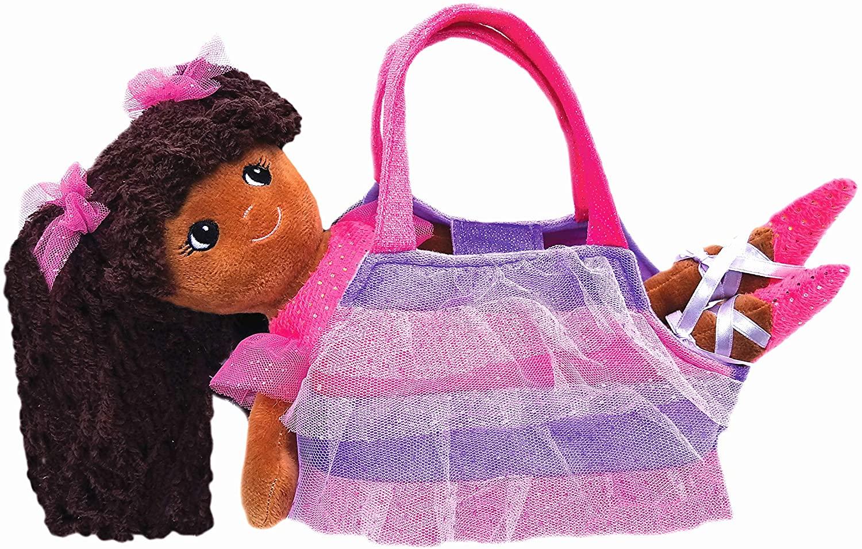 girlzndollz Elana Sparkle Ballerina Doll with Purse, Purple/Brown
