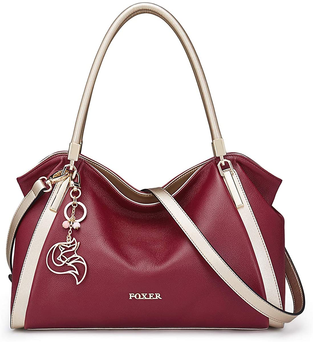 iFOXER Women's Leather Handbags Tote Shoulder Purse Top-handle Large Capacity Carryall Tote Purse