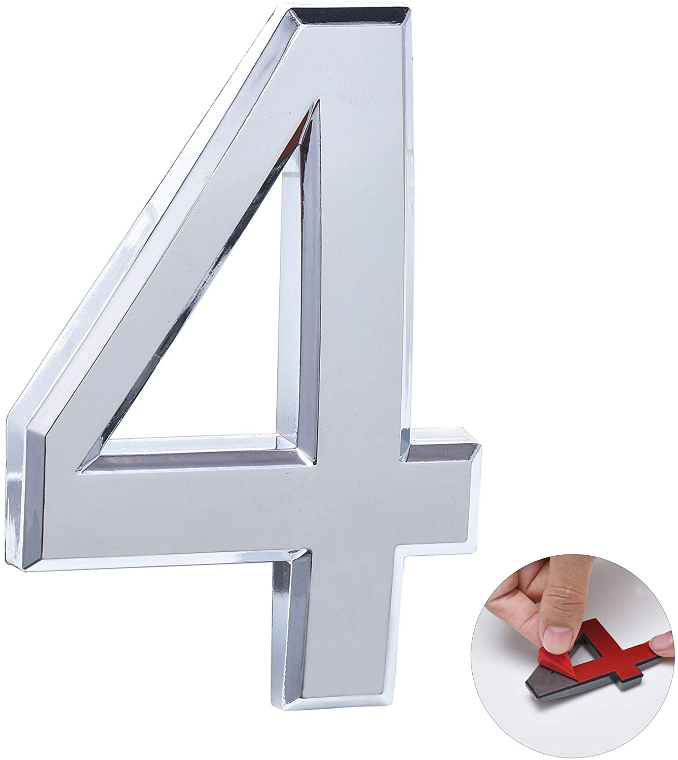 2.75 Inch Self Adhesive Mailbox Number 4, Door Number Stickers for House/Office/Apartment/Address Plaque, Silver