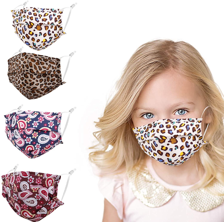 4 Pcs Cloth Cotton Kids Mask - Boys Girls Folded Washable Popular Stylish Face Cover