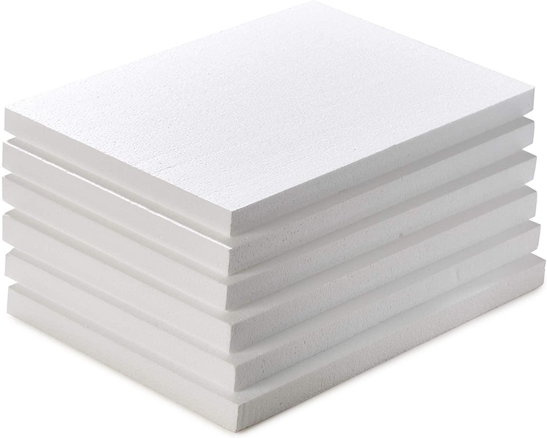 Styrofoam Blocks, 6-Pack Thick Styrofoam Sheets, Styrofoam Board, Polystyrene Foam Blocks for Crafts, 17 x 11 x 1 Inches