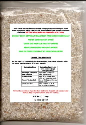 Soil Vigor - 4oz Bag;hydro Moisture and Water Absorbing Crytal Soil.