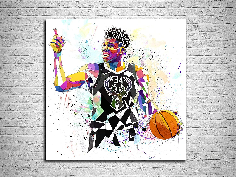 Katia Skye Canvas Print Giannis Antetokounmpo Milwaukee Bucks Basketball Poster (24x36)