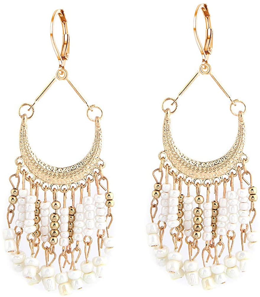 Bohemian Leverback Earrings Dangle Chandelier Beads Long Tassels Women Girl Lightweight Filigree