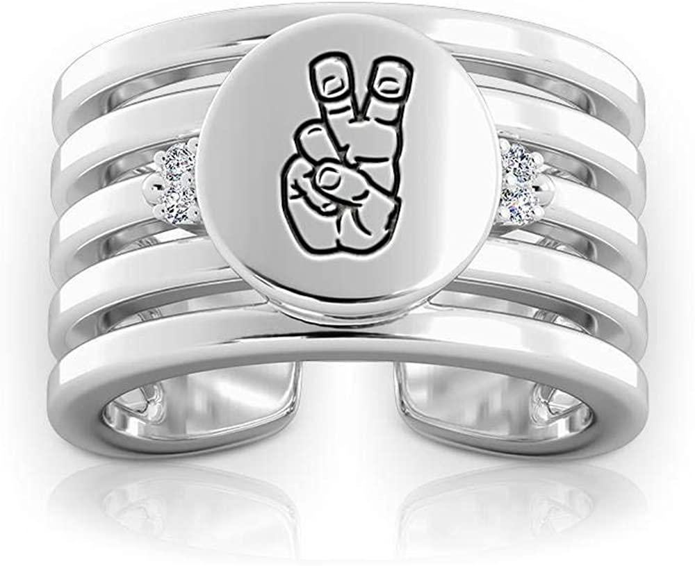 Texas Christian University Engraved Sterling Silver Diamond Multiband Cuff Ring