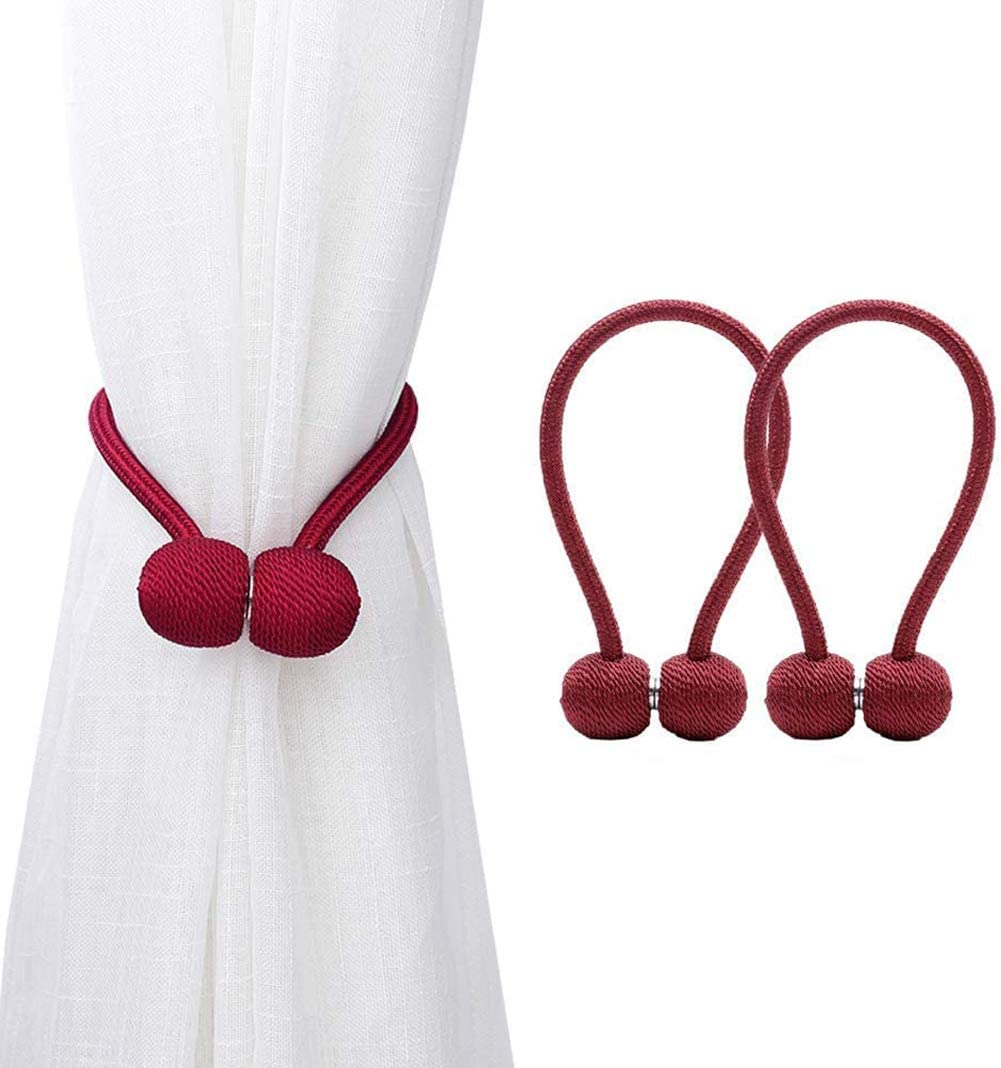 Magnetic Curtain Tiebacks,The Most Convenient Drape Tie Backs,Decorative Rope Holdback Holder for Small, Thin or Sheer Window Drapries, 1 Pair-Red