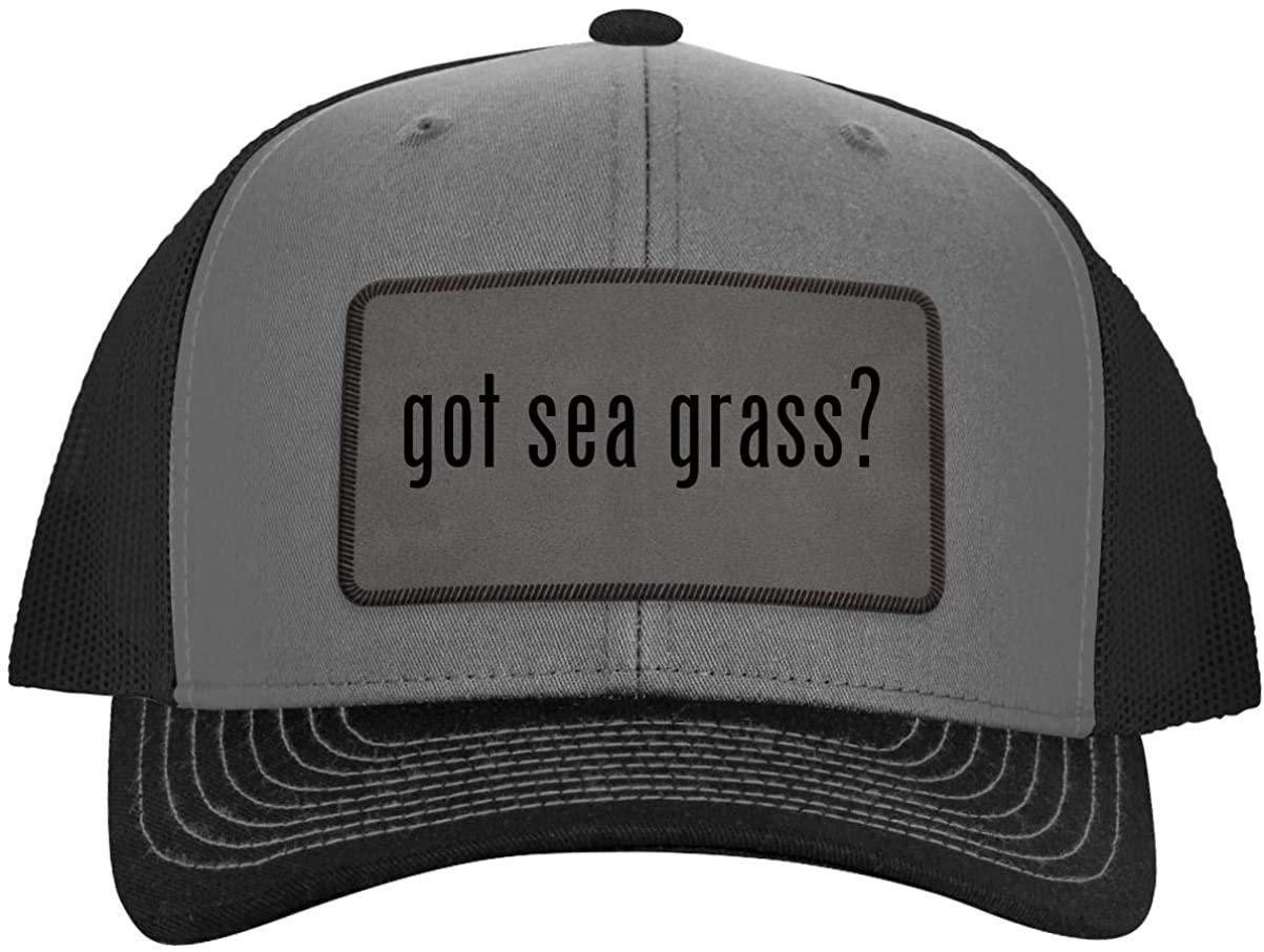 One Legging it Around got sea Grass? - Leather Grey Patch Engraved Trucker Hat