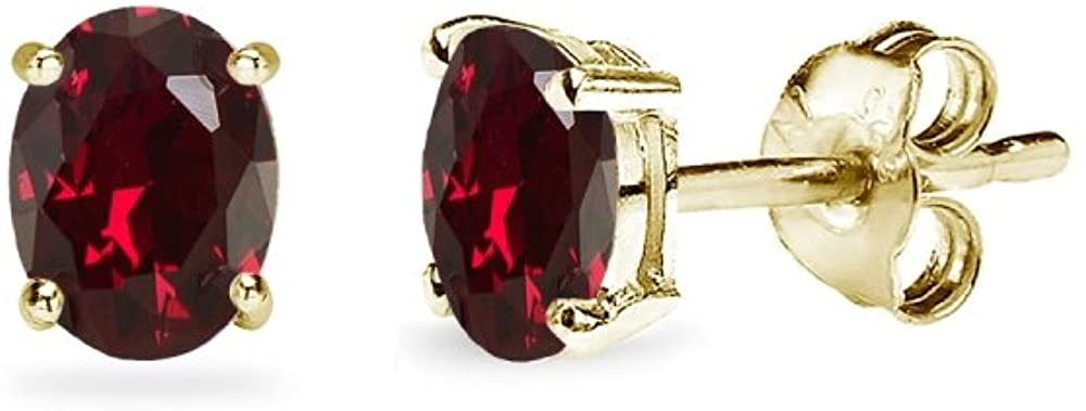 Sterling Silver Synthetic Ruby Oval-Cut Solitaire Stud Earrings for Women Teens & Girls