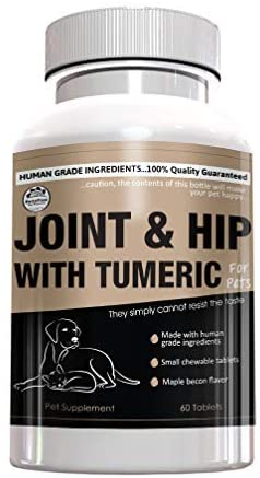 Hip & Joint Glucosamine Supplement for Dogs – Premium Blend Chondroitin, MSM, and Turmeric – Extra Strength Canine Arthritis Pain Relief Support – Chewable Maple Bacon Flavor – 60 Small Tablets