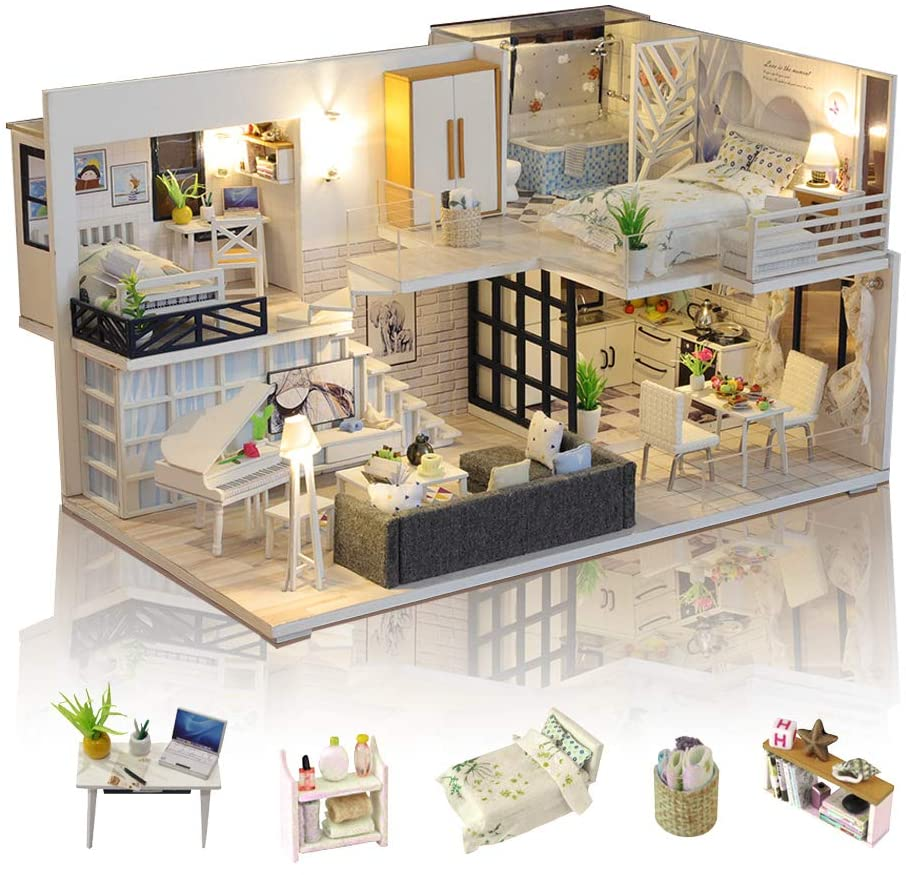 GuDoQi DIY Dollhouse Kit, 3D Wooden Miniature Dollhouse with Furnitures and Music, LED Light, Handmade Mini Apartment Model Kit for Adults to Build, Simple Life House