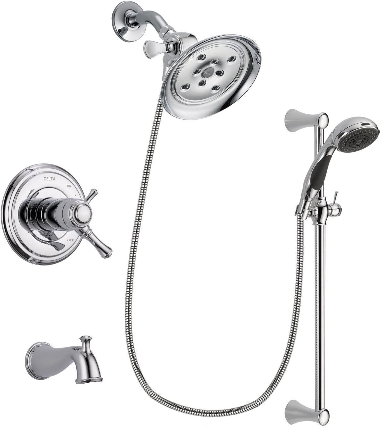 Delta Cassidy Chrome Thermostatic Tub and Shower Faucet System with Large Rain Showerhead and 5-Spray Wall Mount Slide Bar with Personal Handheld Shower Includes Rough-in Valve and Tub Spout DSP0773V