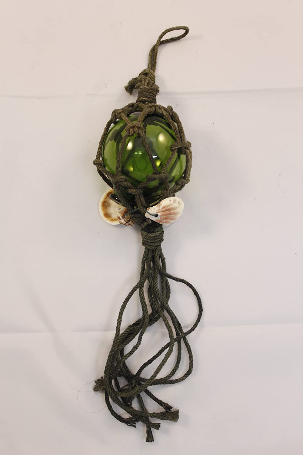 HS Green Glass Buoy Float w/Rope Decoration