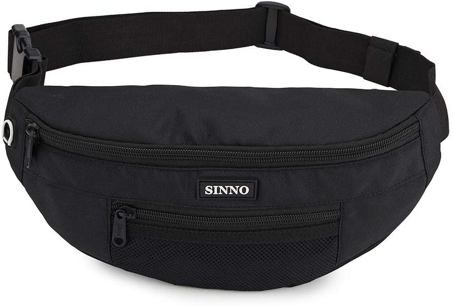 Fashion Waist Packs for Women Men Large Fanny Pack Lightweight Adjustable Belt Bag(Black)