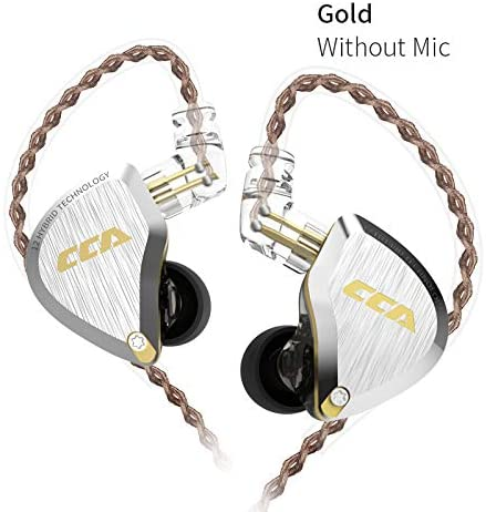 CCA C12 in-Ear Monitors, 5BA+1DD in Ear Earphone Hybrid HiFi Stereo Noise Isolating IEM Wired Earphones/Earbuds/Headphones with Detachable Cable CPin for Musician Audiophile (Without MIC, Gold)