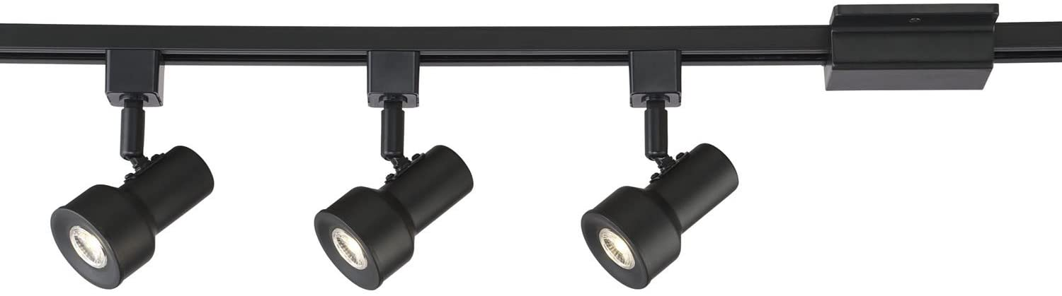 Designers Fountain EVT1042D3-05 3.5' Solid Black Integrated Kit with 3-Small Step Cylinder LED Track Lights, 3000K