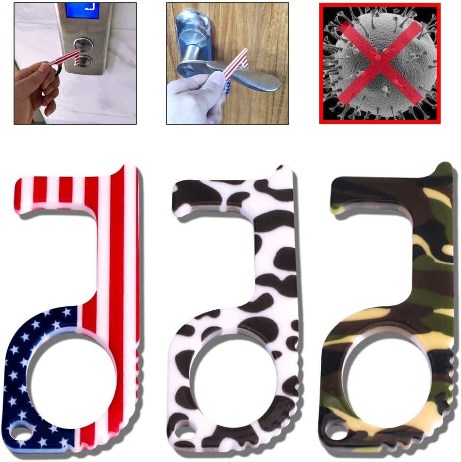 3 Pack No-Touch Door Opener Tools,Hand Stick Tool,Hands Free Door Opener,Handheld Non-Contact Door Opener,EDC Elevator Button Anti-Contactor,3 Styles