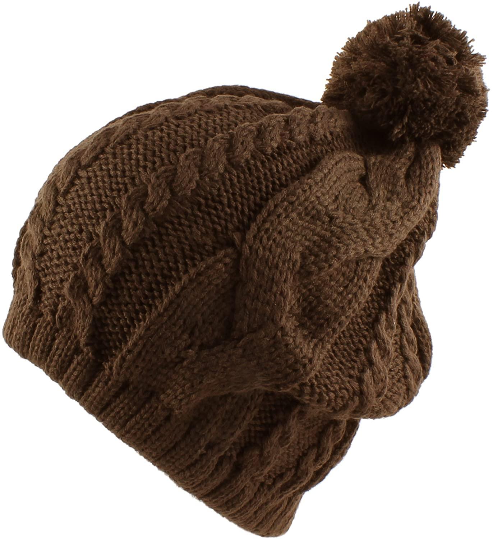 Morehats Thick Crochet Knit Slouchy Pom Pom Beanie Winter Ski Hat