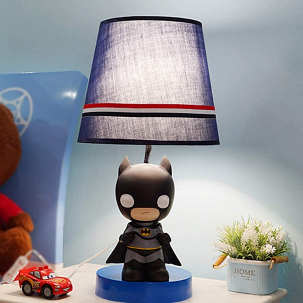 KWOKING Lighting Cartoon Movie Theme Desk Lamp Dimmable Night Light for Kids Super Hero Iron Man Birthday Gifts Table Lamp Eye-Caring Reading Light for Boys Bedroom - Batman