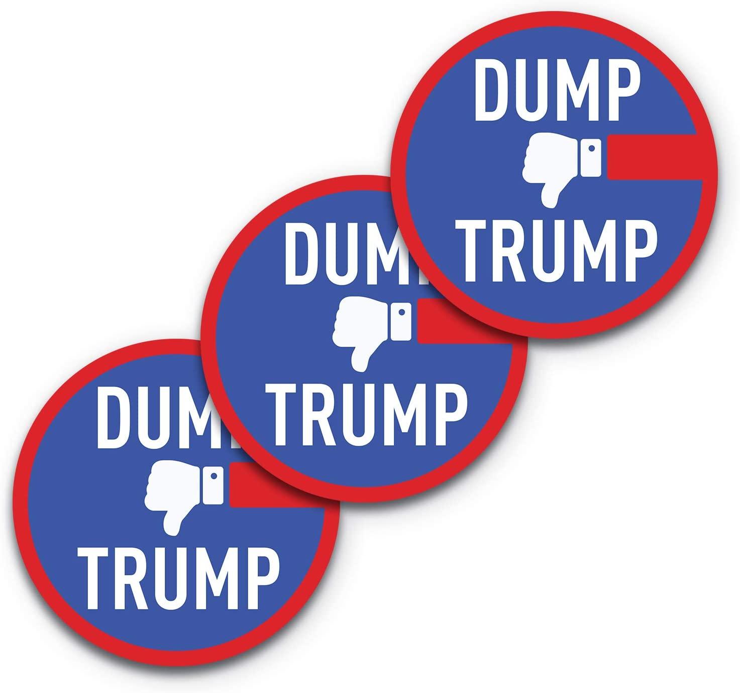 5x5 Dump Trump Sticker 3-Pack, Anti Trump Decal, 100% Waterproof, Anti Trump Window Decal, Sticker Trump