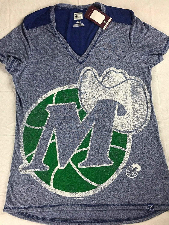 Mavericks Dallas Shirt Womens Medium Basketball Hardwood Classics V-Neck Tee
