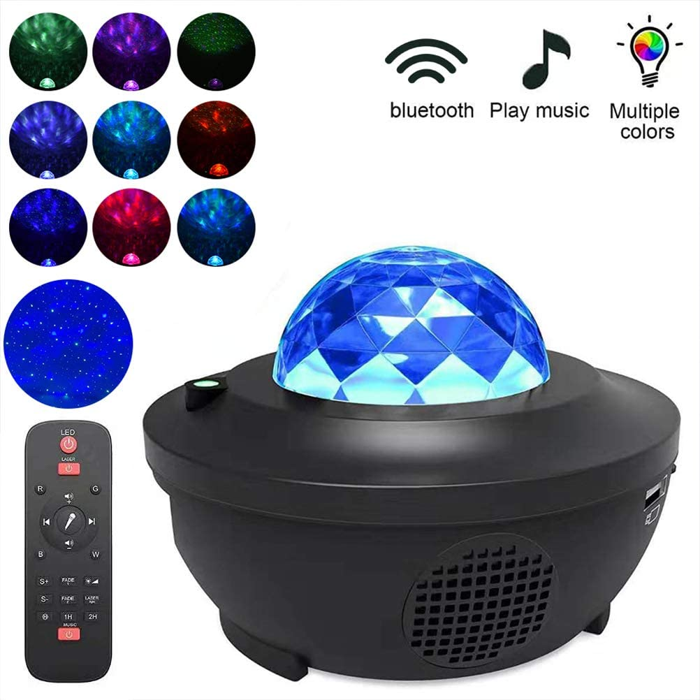 LED Music Star Projector Night Light for Kids, Starry Sky Lights Projector Bluetooth Speaker with Remote Control and Timer Suitable for Bedroom Decoration, Kids Party, Dance Floor, Ceiling