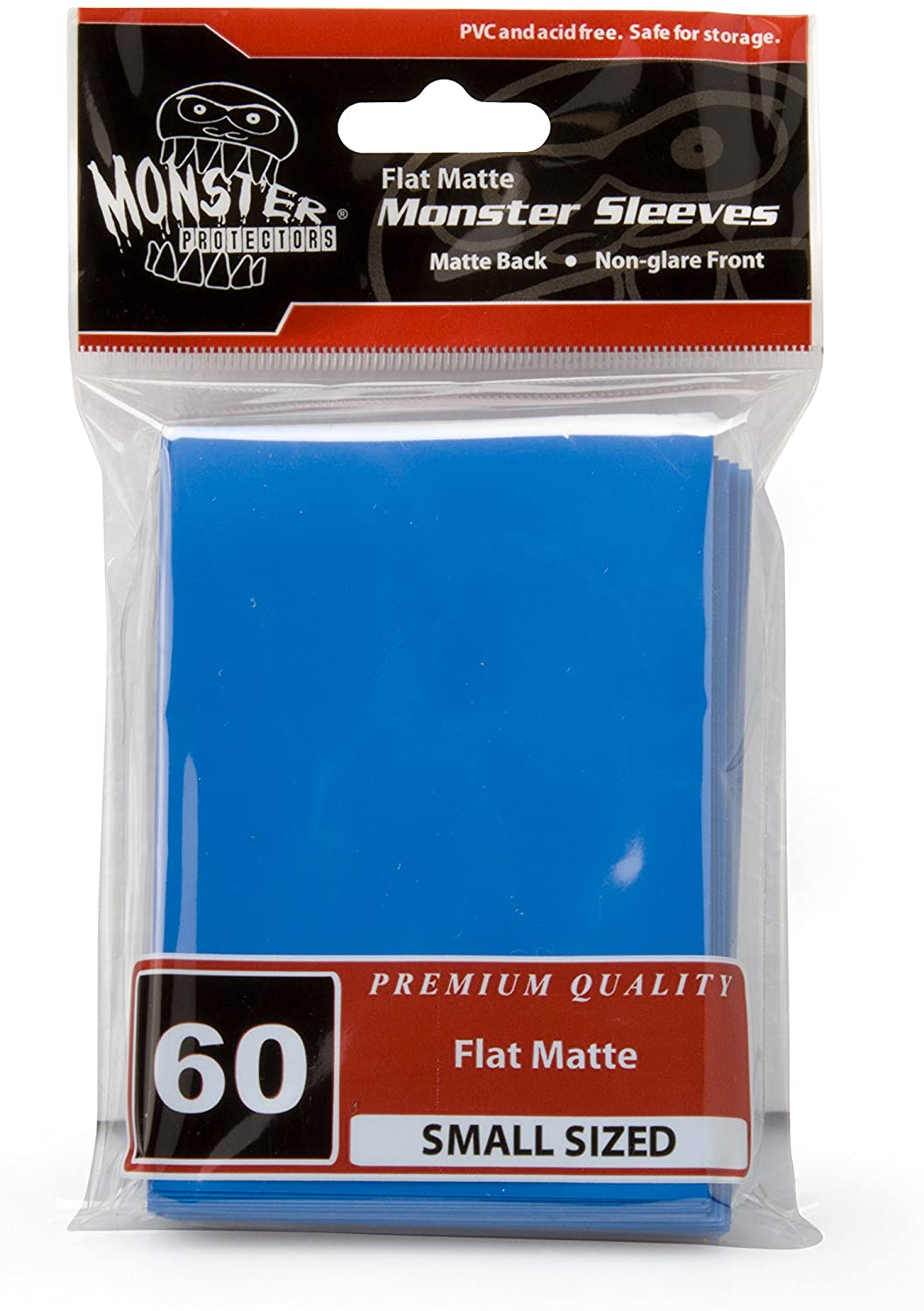 Monster Protectors Sleeves Sleeves - Smaller Size Flat Matte - Blue (Fits Yugioh and Other Smaller Sized Gaming Cards)