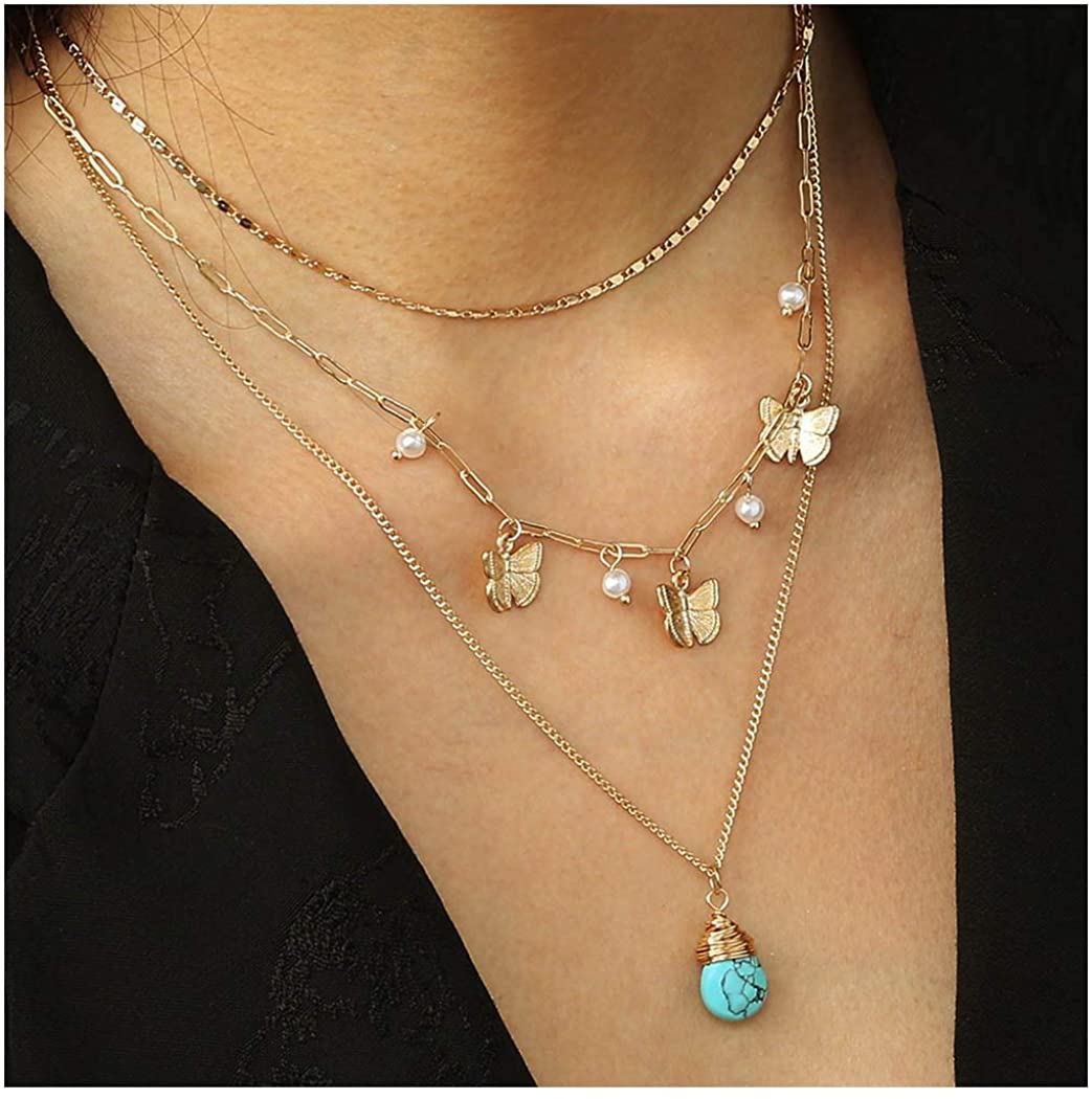 Woeoe Bohe Turquoise Layered Necklace Gold Beach Butterfly Pendant Multilayered Pearls Necklaces Jewelry for Women and Girls