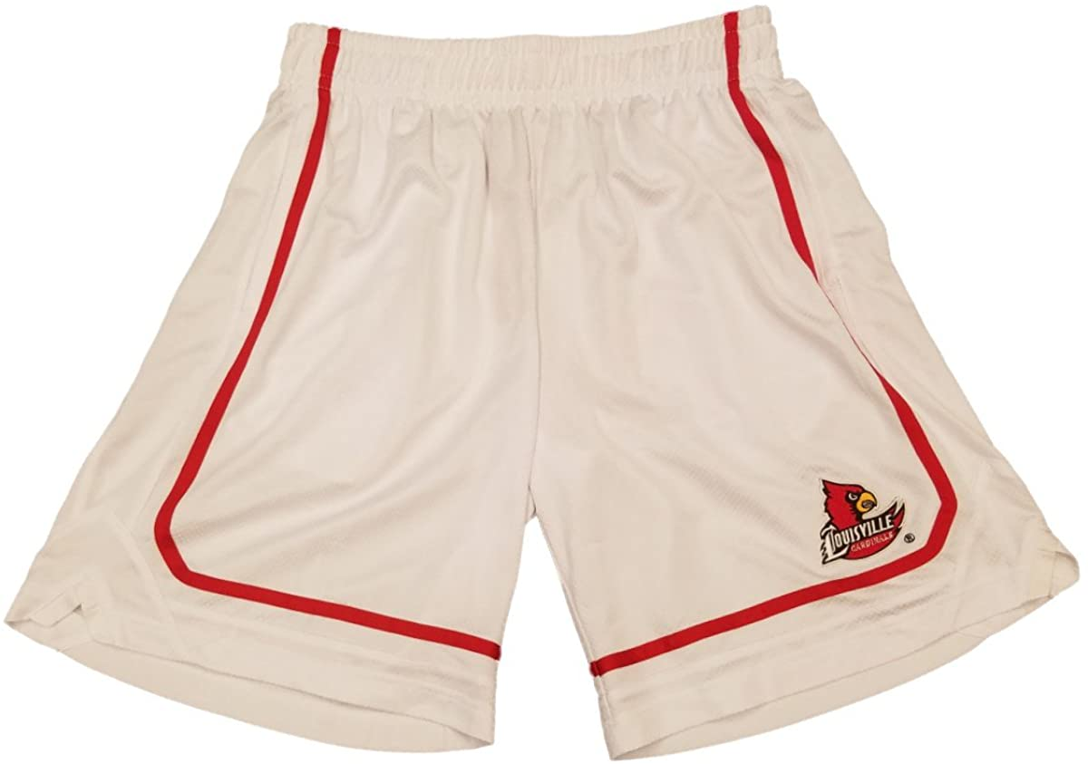 Colosseum Louisville Cardinals White & Red Athletic Drawstring Mesh Shorts (L)