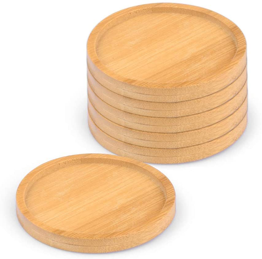 6 Pack Bamboo Plant Saucer, Drainage Tray, 3.15 Inch Wooden Saucers Simple Chinese Style Bamboo Tray Flower Pot Round Glazed Planter Stands