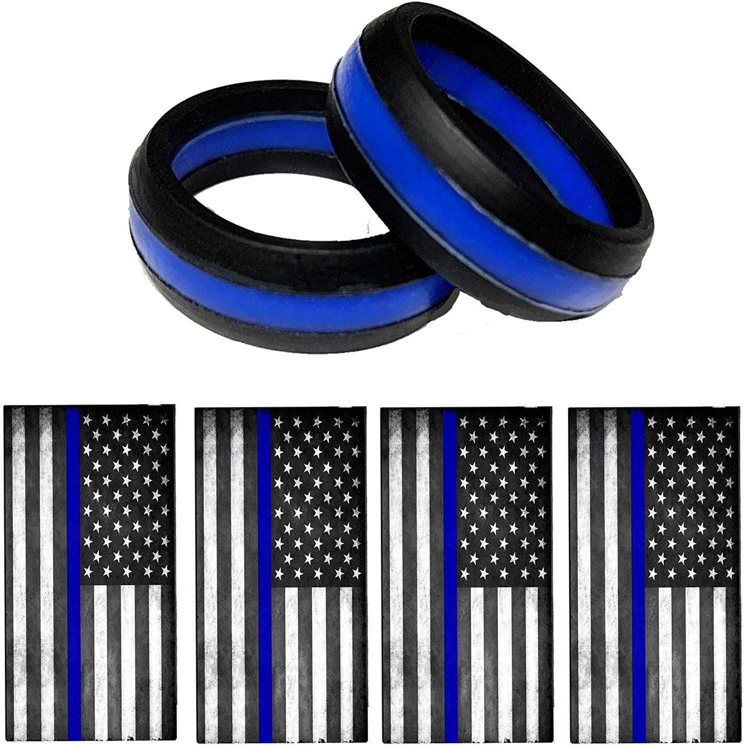 Brotherhood Thin Blue Line Police Silicone Wedding Ring Band Mens Or Womens Wedding Rings with 4 Police American Flag Decals - 2 Police Wedding Bands…