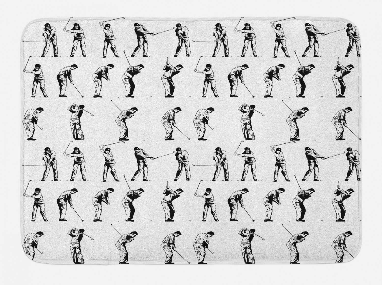 Ambesonne Golf Bath Mat, Golf Swing Shown in 14 Stages Sports Hobby Themed Sketch Art Storyboard Print, Plush Bathroom Decor Mat with Non Slip Backing, 29.5