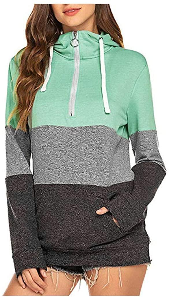 Fudule Women Sweatshirts,Women's Patchwork Pullover Hoodie Sweatshirt for Women Sweater Blouse Tops with Zipper