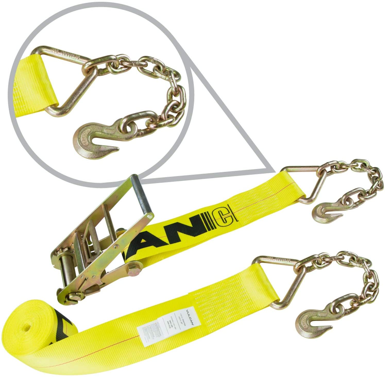 VULCAN Ratchet Strap with Chain Anchors - 4 Inch x 30 Foot - Classic Yellow - 5,400 Pound Safe Working Load