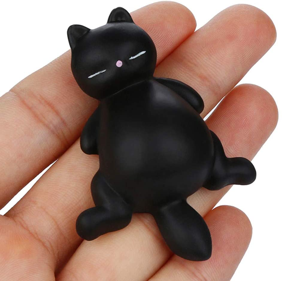 GIRHEWW Decompression Toys, Adorable Squishyies Toy Kawaii Mochi Lazy Cat Kitty Slow Rising Squeezable Stress Reliever Toy, Anti-Anxiety Healing Fun Toy, Party Favor Toy Gift for Adults Kids (Black)