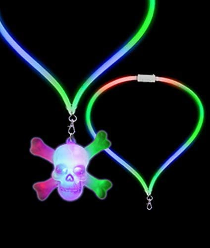 Fun Central LED Light Up Skull Lanyard - Flashing Lanyard for Halloween and Pirate Themed Events & Parties