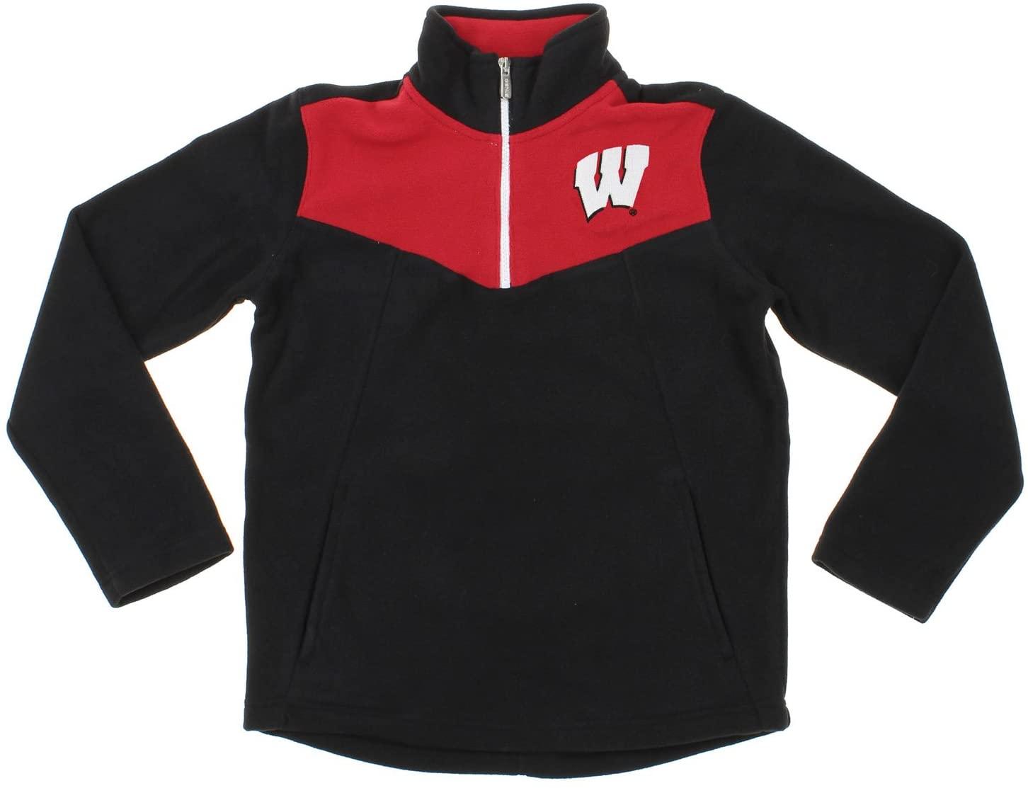 Gen2 Wisconsin Badgers NCAA Youth Boys Break Point 1/4 Zip Pullover Sweater, Black