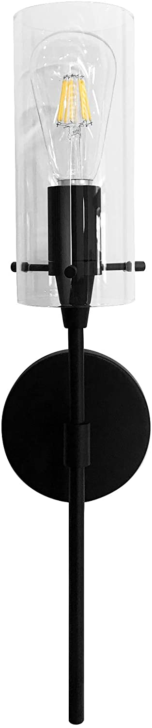 MONKFISH WS36 Wall Sconce 1-Light with Clear Glass Shade Modern Minimalist Lamp Fixture for Bathroom Bedroom Stair Cafe, UL Listed (Black)