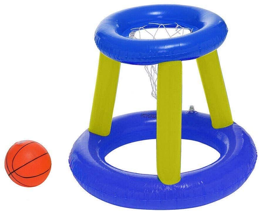 Islandse Giant Inflatable Floating Basketball Hoop & Blow Up Ball for Swimming Pool Shootball Basketball Swimming Pool Game Toy for Kids/Teens