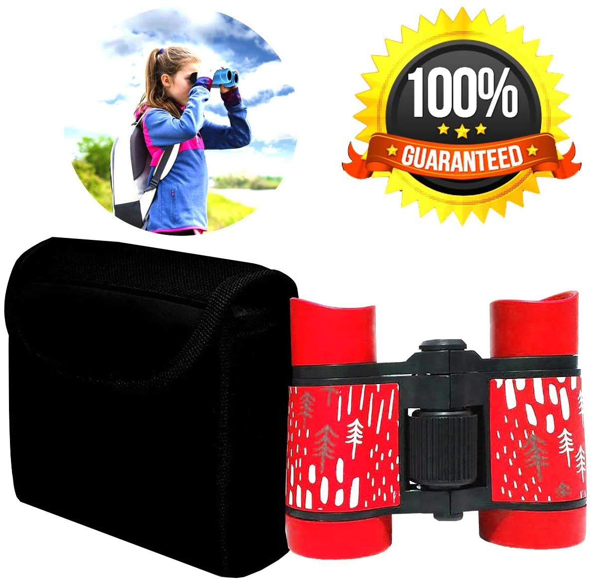 Kid Binoculars Shock Proof Toy Binoculars Set - Bird Watching - Educational Learning - Presents for Kids - Children Gifts - Boys and Girls - Outdoor Play - Hunting - Hiking - Camping Gear(Red)