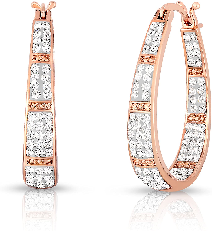 Womens Crystal Inside Out Oval Shape Hoop Earrings, Fashion Hoop Earrings For Women, Womens Hoop Earrings