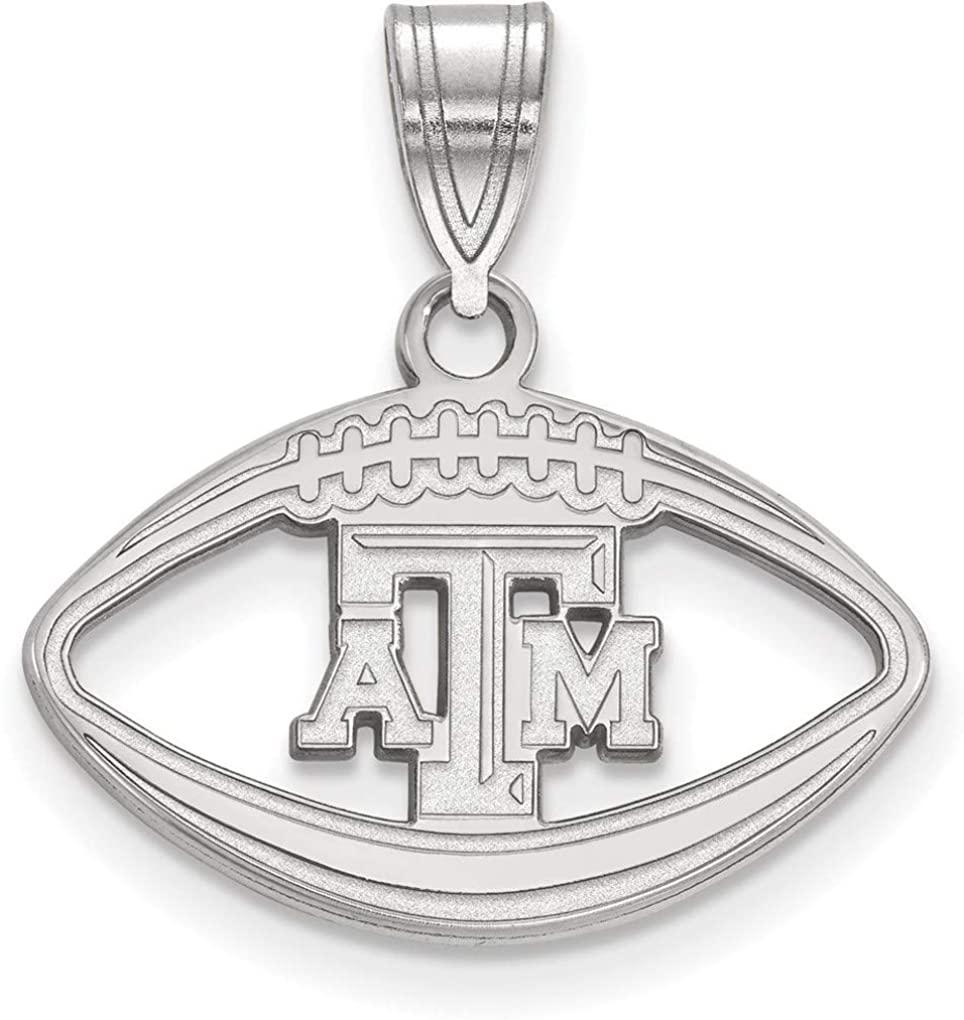 Sterling Silver Texas A&M University Pendant in Football by LogoArt