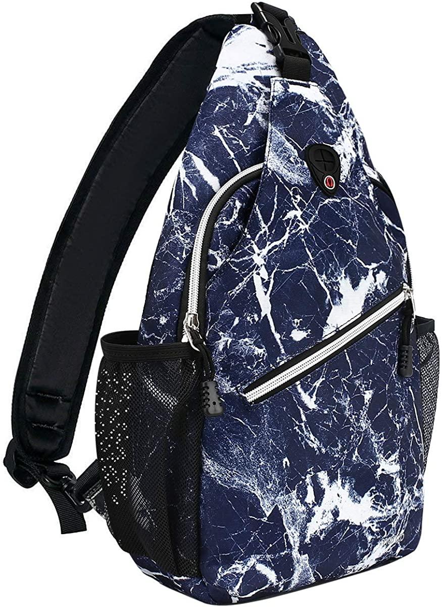 MOSISO Sling Backpack,Travel Hiking Daypack Pattern Rope Crossbody Shoulder Bag, Blue Marble
