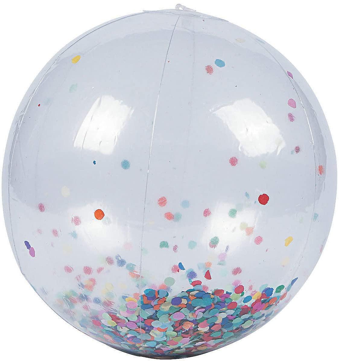 Fun Express Confetti Large Beach Ball - Toys - 6 Pieces
