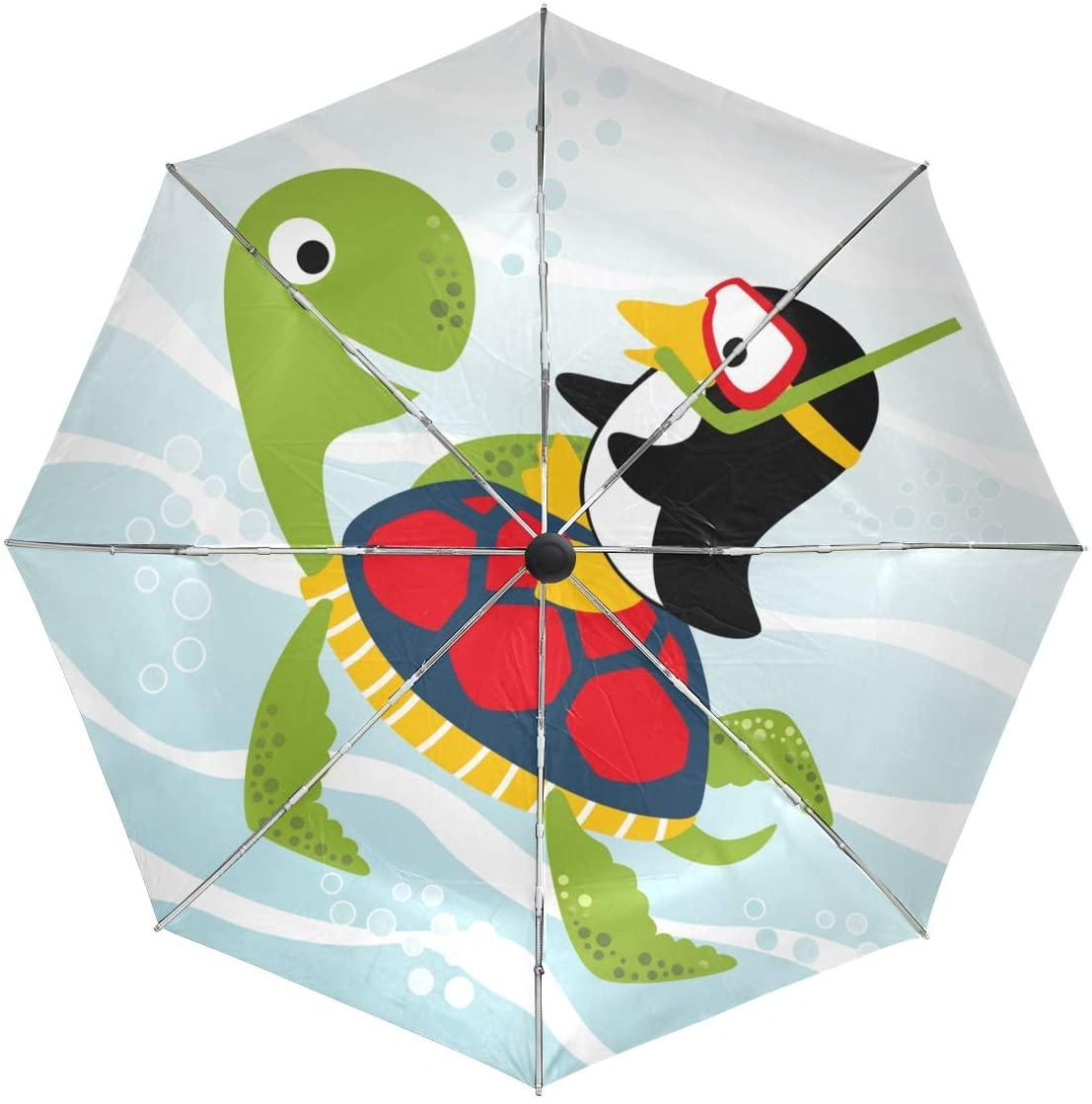 Sea Turtle Penguin Umbrella Large Travel Auto Open Close Sun Blocking Umbrellas for Women Men
