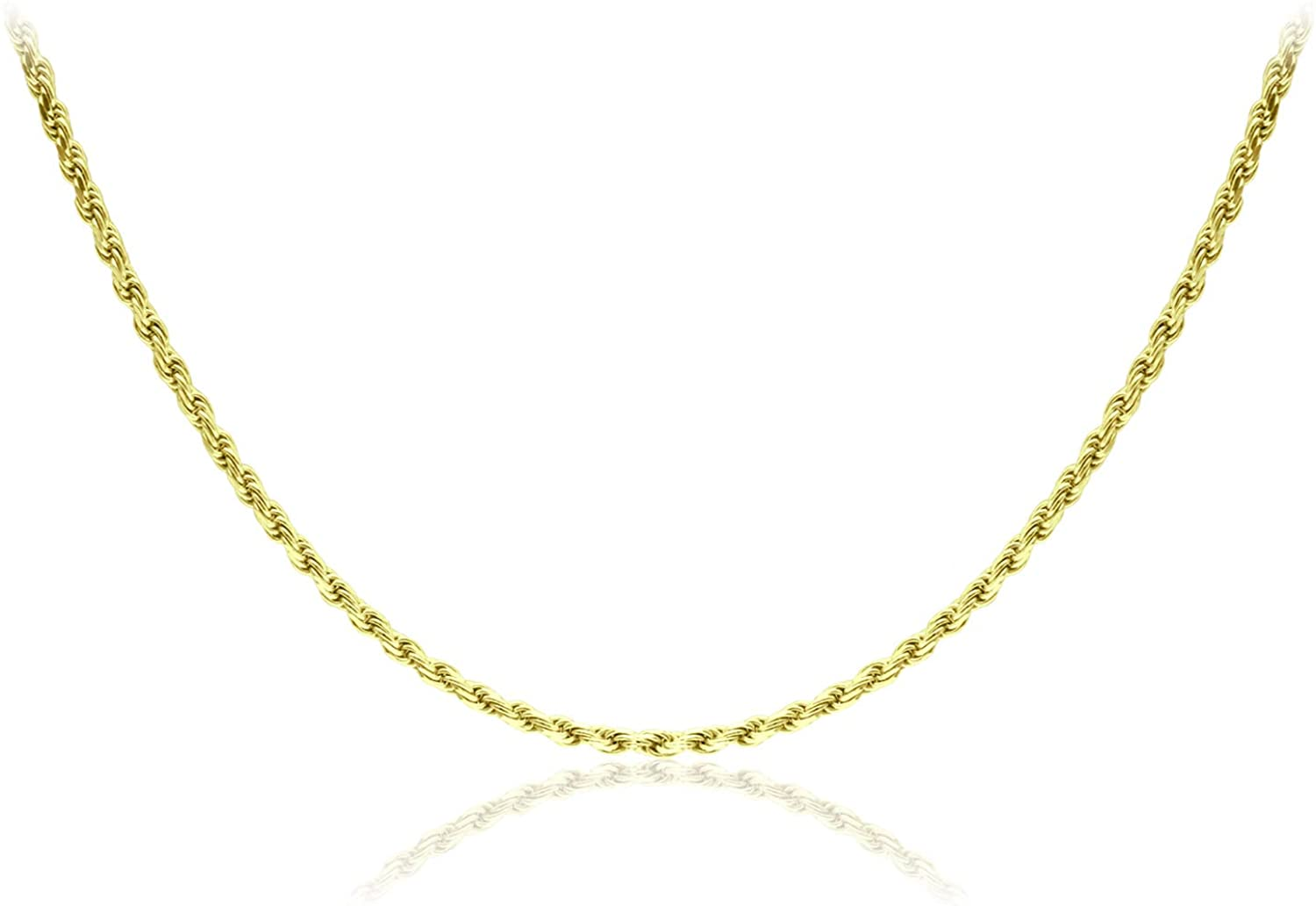 Michael Zweig 925 Sterling Silver Necklace for Women - Diamond Cut Sterling Silver Rope Chain Necklace | 2.0 mm Thickness with Spring Ring, Italy Tag
